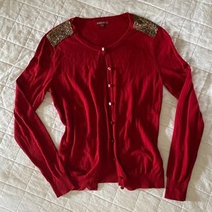 Merona Red Cardigan with Sequin detail on Shoulder